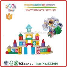 EZ1010 100pcs bunte gedruckte DIY Spielzeug-Kinder hölzerne Ziegelsteine für Verkauf
