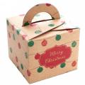 Kraft Paper Christmas Apple Gift Box with Handles