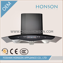 Stainless Steel Black Tempered Glass Range Hood with Digital Display
