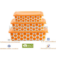 hot selling square food storage with silicone lid, set of 3, orange round dot design