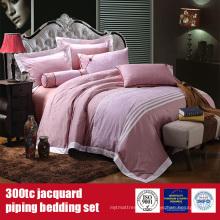 100% coton 300TC Jacquard linge de lit hôtel ensembles de draps