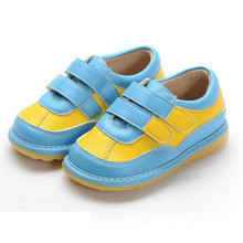 Blue Yellow Hook & Loop Squeaky Shoes Boy