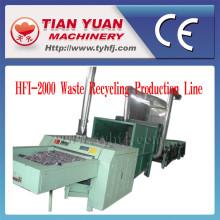 Linha de produção de reciclagem para resíduos roupas de fibra