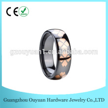8 mm Fashion black ceramic ring, ceramic jewelry with rose gold inlay, ceramic ring factory
