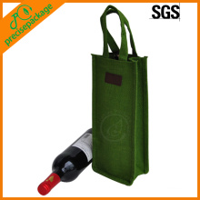 Promotional Recycled OEM gift new design jute wine bag for 1 bottle
