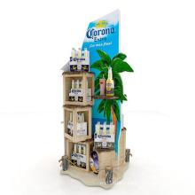 Wood Shelf Acrylic Panel Display Drinks Stand