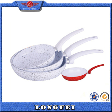 Eco-Friendly White Mármol forrado Fry Pan