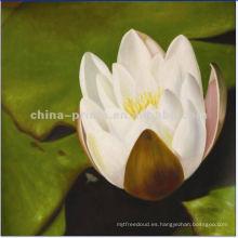 Pintura al óleo grande pintada a mano de la lona de Lotus blanca