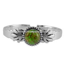 Bracelet en érable en argent sterling 925 en turquoise en cuivre vert