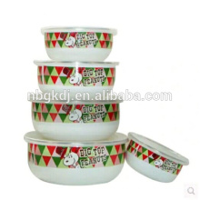 colorful enamel ice bowl /ice cream serving bowl with PE lid