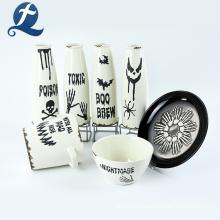 Tarros de cerámica blanca personalizada Tarro de almacenamiento de especias