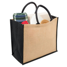 Custom OEM Recycle Plain Organic Black Side Reusable Jute Burlap Shopping Tote Bag with Logo