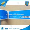 Cinta autoadhesiva de encargo de la seguridad, prueba de manipulación segura cinta vacía con la línea de la perforación y el número de serie