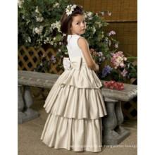 Vestido colorido de la muchacha de flor o tul del patrón del vestido de la muchacha de flor o patrones del vestido de la muchacha de flor de la gasa o vestido encantador de la flor del cordón