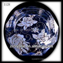 Cendrier en cristal K9 avec fleurs imprimées