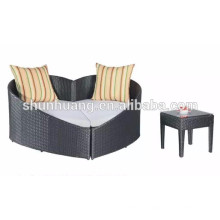 hot sale wicker furniture daybed outdoor PE rattan lounge chaise