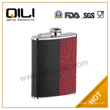 8oz hot sell leather wrap metal wine carrier for promotion