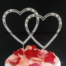Love Rhinestone corazón de boda topper de pastel para la decoración de la torta