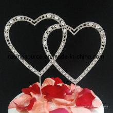 Любовь сердца rhinestone свадебный торт Топпер для украшения торта