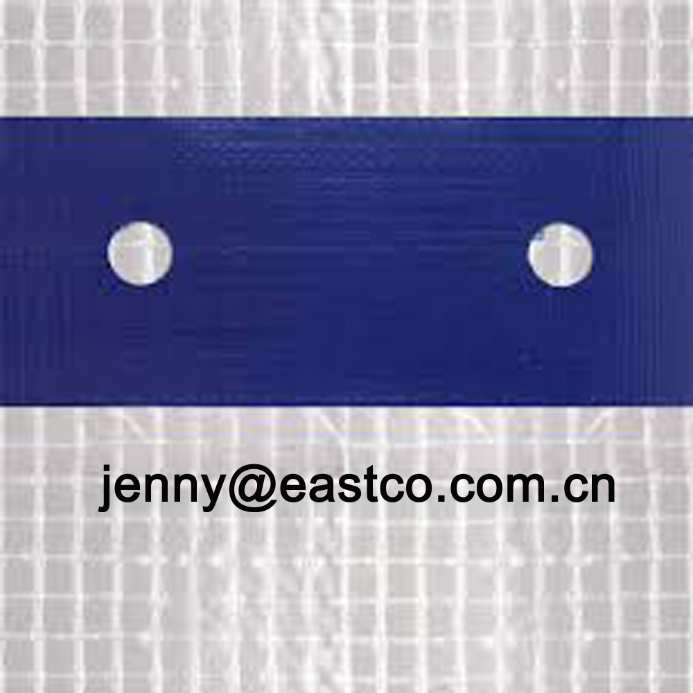 Clear Leno Mesh Tarpaulin Scaffold Cover reinforced with Blue Eyelet Holes Webbing Band