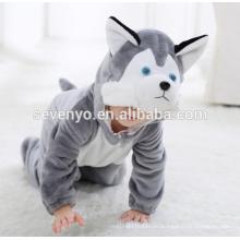 Suave bebé franela mameluco Animal Onesie pijamas trajes traje, ropa para dormir, lindo paño gris, bebé con capucha toalla