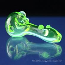 Стеклянная простая иллюминатная ложка для дыма с зеленым цветом (ES-HP-072)
