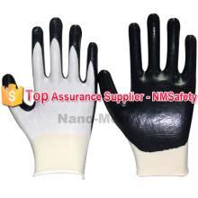 Uso de jardim NMSAFETY 13g nylon com luvas de trabalho de palma nitrilo