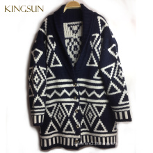 Wool Handmade Sweater Knit Coat Design para Girl, Sweater Hand Making Designs