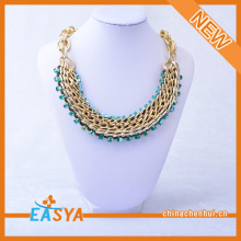 Mosaic Glass Necklace Gold Chain Blue Glass Necklace Cheap Glass Bead Necklace