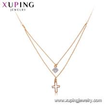 44159 Xuping jóias banhado a ouro colar de corrente, mais recente projeto de 18 k colar de cruz de ouro