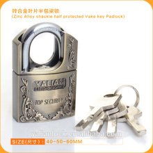 Europe Market Good Quality Zinc Alloy Shackle Half Protected Vane Key Padlock