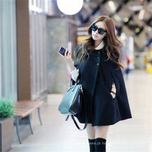 New Moda Mulher Inverno Warm Lã Poncho Jacket Cap Cape