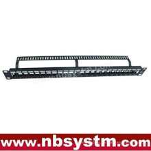"""24 port UTP Blank Patch Panel 19"""" 1U with back bar,available for Cat5e or Cat6 Keystone Jacks"""