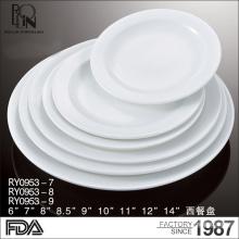 Venta al por mayor buena calidad restaurante buffet cena plato blanco hotel porcelana placas