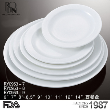 Wholesale good quality restaurant buffet dinner plate white hotel porcelain plates