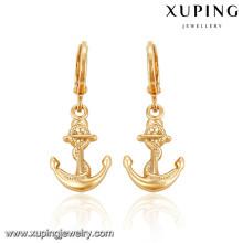 92433 Xuping plaqué or mode nouvelle boucle d'oreille conçu sans pierre