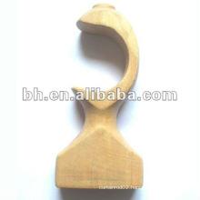 decorative single wood curtain rod bracket