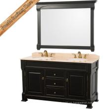 Gabinete de baño de madera sólida oscuro clásico fijado Vanidad del cuarto de baño