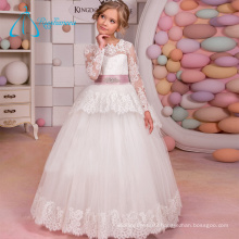 2017 Sequined Beading Sashes Long Sleeve Flower Girl Dresses