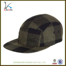 Grid Flannel Custom Logo 5 Panel Hat / Personalizado 5 Panel / 5 Panel Cap Wool
