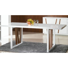 Contemporary white dining table with veneer