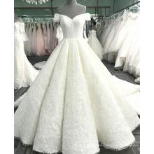 Sexy aus der Schulter Champagner Frauen Hochzeitskleid 2017 Luxus WT365