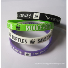Printed Customized Silicone Rubber Wristband for Promotion