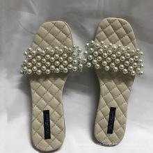 Summer beautiful girls beach sandals pearl shoes ladies fancy flat shoes women sandals big size