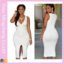 2016 Latest Wholesale Zipper Front Woman Sexy Plain Bodycon Dress