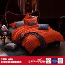 100% Algodão 200TC Cetim Impresso Bedding Set Motel Linens Fornecedores