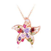 18k rosa banhado a ouro multicolor CZ starfish necklace moda (CNL0218-A)