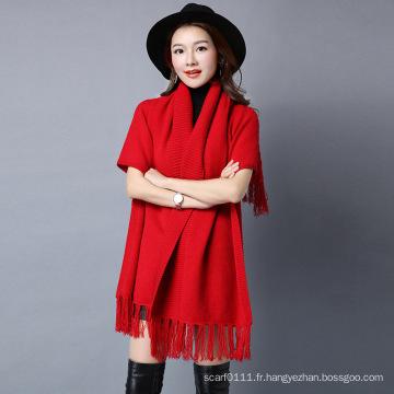 Les femmes de mode Viscose Nylon tricoté frange châle d'hiver (YKY4529)