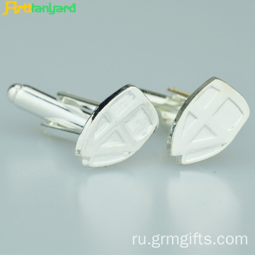 Alloy Silver Men's Cufflink With Logo