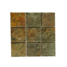 Telhas de parede de mosaico de pedra ardósia Natural Rusty